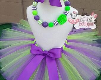 PURPLE GREEN- Purple and Green tutu with hairbow:  Newborn-5T