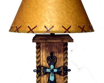 """18"""" USB Western Cross Lamp with Power Center"""