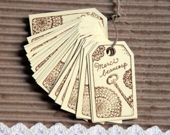 """Etiquettes """"Merci beaucoup"""" faites à la main, étiquettes cadeaux, remerciement Lot de 10  5,5cm x 3cm, encre marron"""