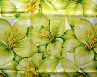 The Woodrow Studio Blooming Glory Cotton Fabric, Chartreuse Hibiscus, Fat Quarter