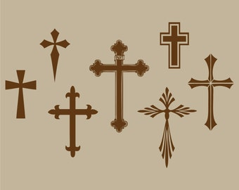 cross collection vinyl wall decal set