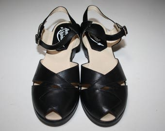 1950's style wedges - Rocket Originals 'Grace' in black leather, UK size 9