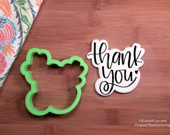 Thank You Cookie Cutter. Hand Lettered Cookie Cutter. Wedding Cookie Cutter. Anniversary Cookies. Unique Cookie Cutter. KaleidaCuts.