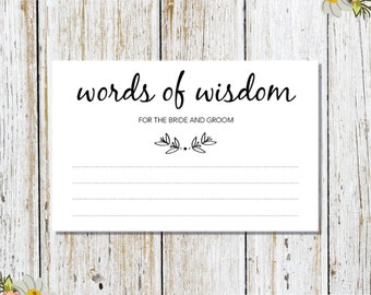 Words of Wisdom for the Bride & Groom Card Printable