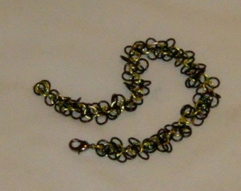 Anodized Aluminum Shaggy Loops Weave Chainmaille Bracelet