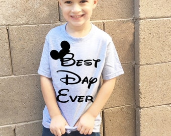Best day ever Disneyland and Disney World t shirt for kids boys and girls matching shirts for the whole family available in heather grey