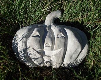 Natural Concrete Jack O' Lantern,  Fall, Halloween, Wall Hanging, Garden Art