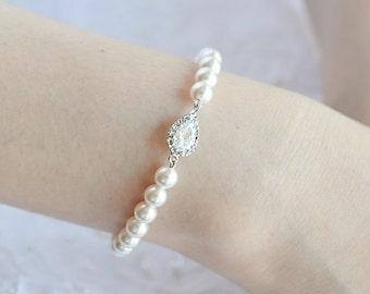 Pearl Bridal Bracelet, Wedding Bracelet, Teardrop Crystal Bracelet, Swarovski Pearl Bracelet Cuff, Simple Bridal Jewelry,Bridesmaids, ABELIA