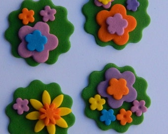 12 edible MIXED FLOWER BLOSSOMS disc fairy icing cake decorations cupcake topper decoration party wedding anniversary birthday engagement