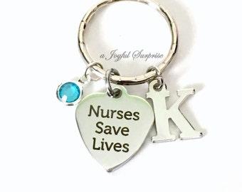 Nurses Save Lives Keyring, Nurse Keychain, RN Key Chain, Gift for RN Medical initial birthstone LVN Canadian Seller Shop women men her him