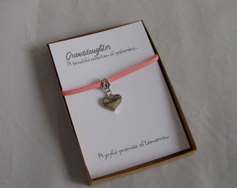 Granddaughter A Reflection Friendship Bracelet Gift, Key Ring or Pendant and Card, Granddaughter Present