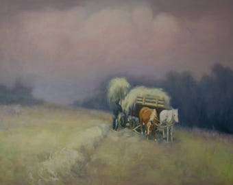 Hay - original oil painting, landscape oil artwork