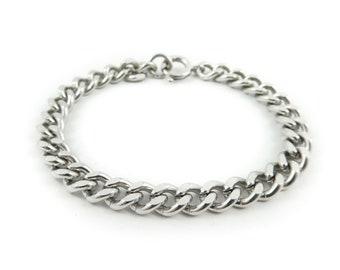 Vintage German, Chain Bracelet, Links, Silver Tone