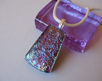 Dichroic Glass Fused Pendant Necklace - Mauve, pink, green