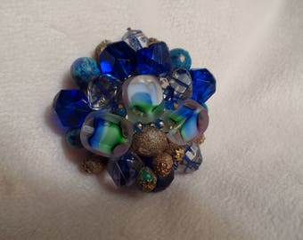 1950's West Germany Brooch with Colorful Beads-Blues and Greens