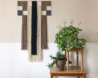 macrame wall hanging with metal grid | geometric tapestry | contemporary fiber art | textile wall decoration | taupe, black, white, gray