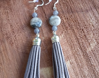Petrified Wood (beads), Gray/Blue Iolite w/ Gray Faux Suede Tassels and Silver Plated Ear Hooks! ~Boho, Witch, Mystic, Jewelry