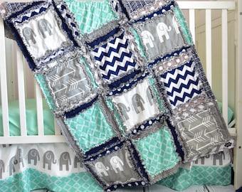 Elephant Blanket Baby Boy Nursery- Navy / Gray / Mint Crib Bedding Flannel Baby Blanket- Jungle Nursery- Safari Nursery- Elephant Crib Quilt