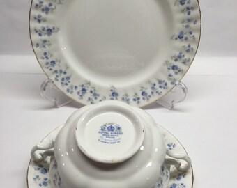 Royal Albert Memory Lane Bone China Cream Soup Bowl Saucer and Salad Plate