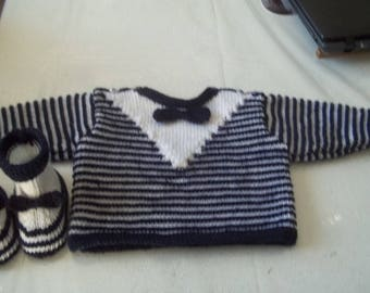 all knit handmade baby sweater and boots - 0/3 months