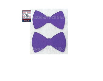 Medium Purple Bowtie, Fathers Day, Purple Paper Bow, Baby Shower, Bowtie Confetti, Little Man Bowtie, Cupcake Topper - 24 Ct.