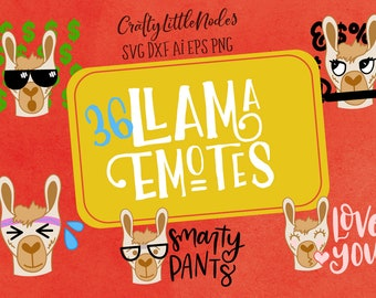 Llama Emotes Graphic Pack, Llamas, Graphics, Drawing, Svg, Cutting, Sublimation, Commercial Use, Emotions, Sticker, Designs, Shirt, Elements