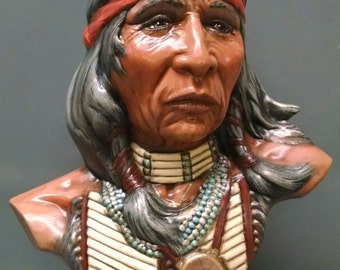 SALE!!!Medicine Man Bust--Native American Indian Figurine--Heirloom Quality--Hand-painted Ceramic--Home Decor--Native American Art