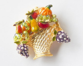 Colorful Enamel Harvest Basket Pin - Summer Autumn Fruits And Vegetables Cornucopia - Truly Beautiful