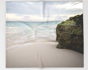 Ocean Blue Blanket, Fleece Throw Blanket, Beach House Decor, Landscape Photography Gifts, Photo Blanket, Ocean Waves, Soft Blanket
