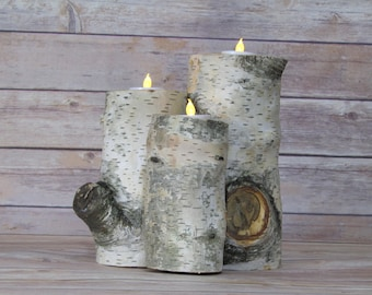 Rustic three pillar, white birch, tea light candle holder