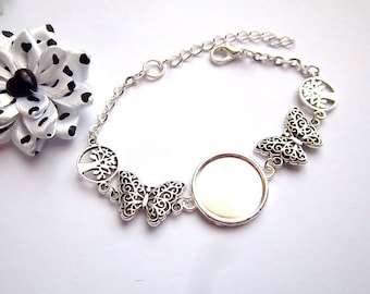 1 bracelet silver 18mm, butterfly and tree ring holder