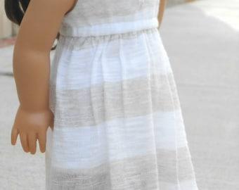 Beige/White Striped Salina Dress for American Girl Dolls