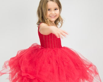 Ready to ship. Size 3/4 Years. Bright Red Tutu dress