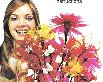 Dip-a-flower instruction booklet, 1971, Milton Bradley, Crafts by Whiting