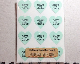 100 Save the Date mini Heart Seals / Stickers -You Pick Color (kraft, red, pastel pink, white, mint, pastel green, pastel yellow)
