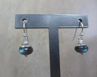 Modern Blue Green Labradorite Sterling Silver Earrings, Rondelle, Minimalist, Irisjewelrydesign