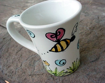 Custom mug you design you choose theme and can be personalized kiln fired pottery