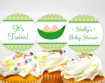 Twins Cupcake Toppers - Two Peas In A Pod -  Personalized DIY Printable Digital File