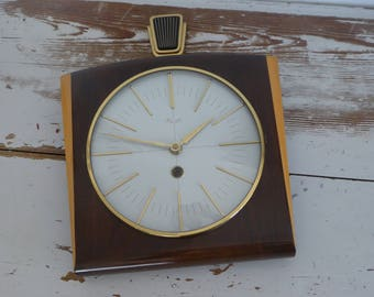 Kienzle vintage wall clock mechanical clock mid century great design Wanduhr wooden 60s original