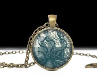 Kracken Necklace Kracken Jewelry Necklace Wearable Art Pendant Charm Octopus Pendant Charm Octopus Keychain Nautical Keychain Nautical
