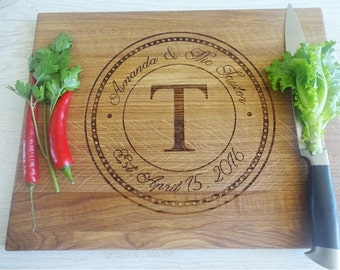 Personalized Engraved Wedding Cutting Board, Custom Wedding Date & Names, Anniversary Gift, Cherry Wedding Cutting Board. Bridal Shower Gift