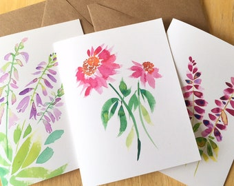 3 Floral Watercolor Note Cards  - Blank Flower Cards - Hosta Flower Card - Coneflower Card - Salvia Card - Watercolor Flower Blank Cards