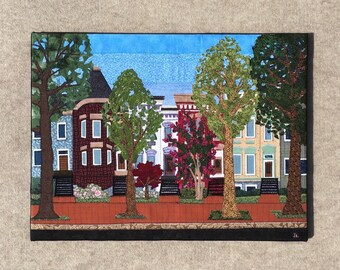 Capitol Hill 18x24 inches, original sewn fabric artwork, handmade, freehand appliqué, ready to hang canvas