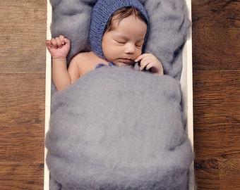 Ash Grey Basket Stuffer, Grey Cloud Wool Fluff, Newborn Photo Prop,  Basket Liner, Large Grey Wool Fluff