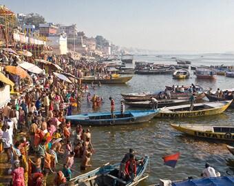 Street Photography,Fine Art Print,People of India,Wall Art, Ganges,Varanasi,Gath,Hindu,Travel Photography, Maadat,4x6,8x12,12x18,16x24,20x30
