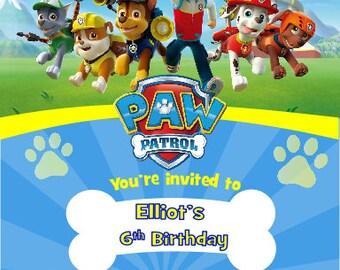 Printed Personalised Paw Patrol Birthday Party Invitations x10
