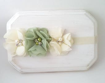 Ivory and Light Green Headband - Newborn Headband - Infant Headband - Flower Girl Headband - Ivory Headband - Green Hair Bow - Baby Girl Bow