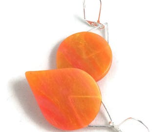 Tangerine dream teardrop dangle earrings translucent polymer