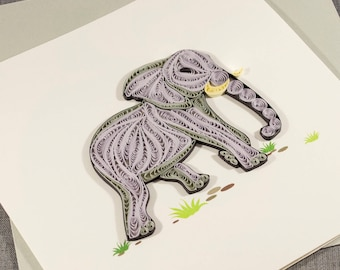 3D Blank Quilled Elephant Animal Card