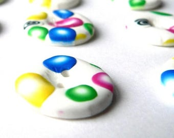 White Planet Buttons - handmade in polymer clay